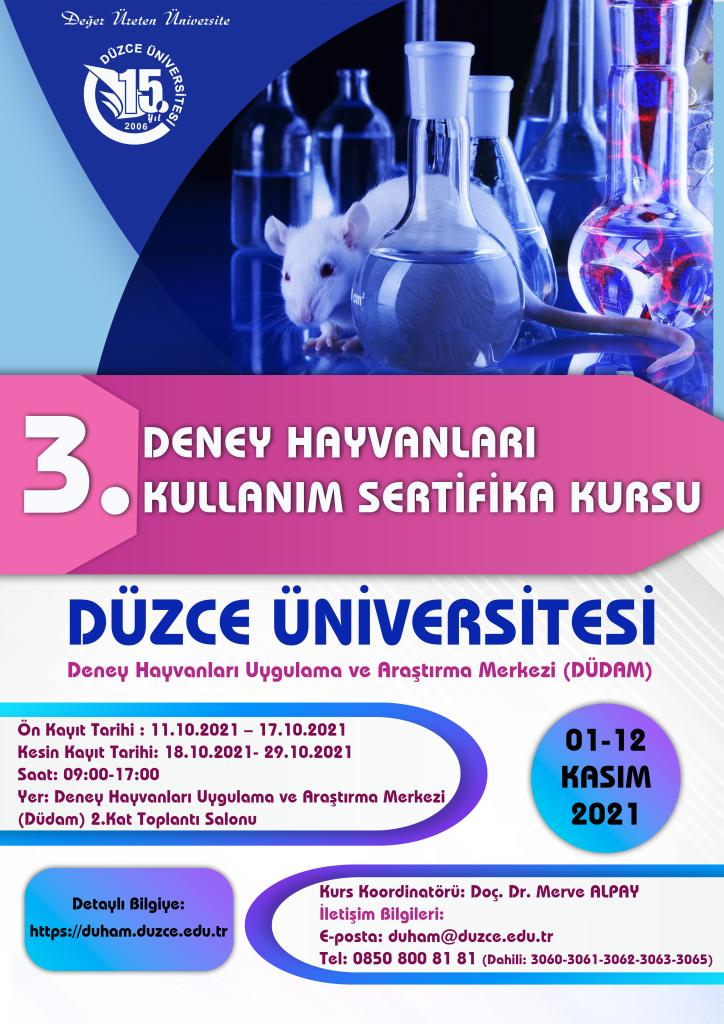 3. Deney Hayvanları Kullanım Sertifikası Eğitim Programı