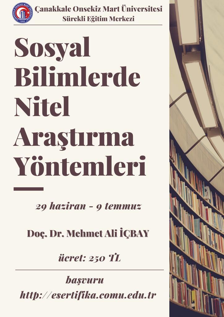 Sosyal Bilimlerde Nitel Araştırma Yöntemleri Kursu