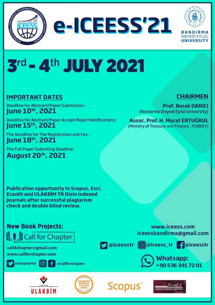 International Conference on Empirical Economics and Social Sciences (e-ICEESS'21)