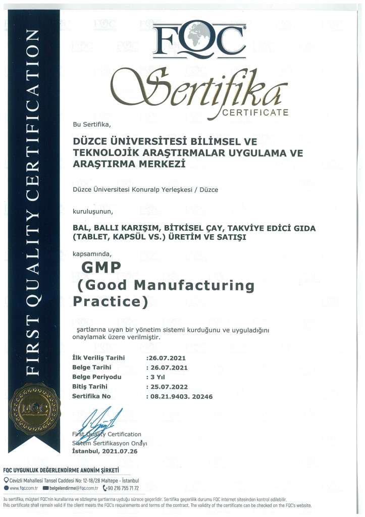 Üretim Merkezimiz; GMP, ISO 9001 ve ISO 22000 Sertifikalarını Alan Bölgenin İlk ve Tek Merkezi Oldu